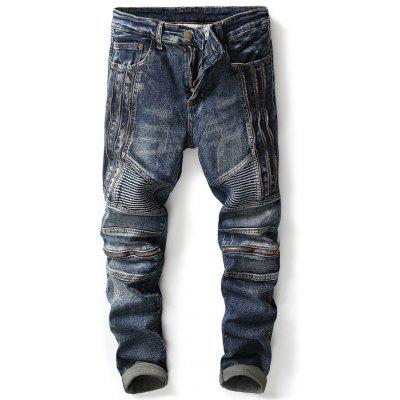 Buy DENIM BLUE 34 Zipper Design Accordion Pleat Straight Leg Biker Jeans for $43.61 in GearBest store