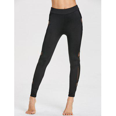 High Waist Mesh Panel Gym LeggingsPants<br>High Waist Mesh Panel Gym Leggings<br><br>Material: Polyester, Spandex<br>Package Contents: 1 x Leggings<br>Pattern Type: Solid<br>Style: Active<br>Waist Type: High<br>Weight: 0.2200kg