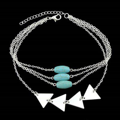 Faux Turquoise Triangle Layered Chain Bracelet