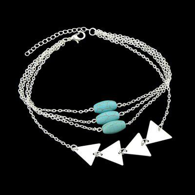 Faux Turquoise Triangle Layered Chain BraceletBracelets &amp; Bangles<br>Faux Turquoise Triangle Layered Chain Bracelet<br><br>Chain Type: Link Chain<br>Gender: For Women<br>Item Type: Chain &amp; Link Bracelet<br>Length: 30CM<br>Package Contents: 1 x Bracelet<br>Shape/Pattern: Geometric<br>Style: Trendy<br>Weight: 0.0210kg