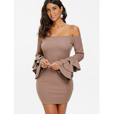 Open Shoulder Flare Sleeve Mini Bodycon DressBodycon Dresses<br>Open Shoulder Flare Sleeve Mini Bodycon Dress<br><br>Dresses Length: Mini<br>Elasticity: Micro-elastic<br>Embellishment: Ruffles<br>Material: Polyester, Spandex<br>Neckline: Off The Shoulder<br>Package Contents: 1 x Dress<br>Pattern Type: Solid Color<br>Season: Fall, Winter, Spring<br>Silhouette: Bodycon<br>Sleeve Length: Long Sleeves<br>Sleeve Type: Flare Sleeve<br>Style: Brief<br>Weight: 0.5100kg<br>With Belt: No