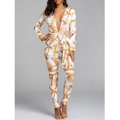 Chain Print Plunging Neck Jumpsuit with Belt