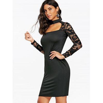 Cut Out Lace Panel Bodycon DressBodycon Dresses<br>Cut Out Lace Panel Bodycon Dress<br><br>Dresses Length: Knee-Length<br>Elasticity: Elastic<br>Embellishment: Cut Out,Lace<br>Material: Cotton, Polyester<br>Neckline: Mock Neck<br>Package Contents: 1 x Dress<br>Pattern Type: Solid Color<br>Season: Fall, Spring<br>Silhouette: Bodycon<br>Sleeve Length: Long Sleeves<br>Style: Brief<br>Weight: 0.2500kg<br>With Belt: No