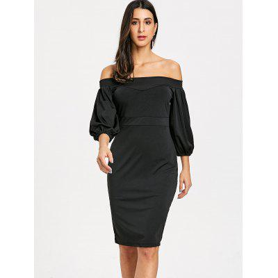 Off The Shoulder Puff Sleeve Sheath DressWomens Dresses<br>Off The Shoulder Puff Sleeve Sheath Dress<br><br>Dresses Length: Knee-Length<br>Material: Polyester<br>Neckline: Off The Shoulder<br>Occasion: Semi Formal, Casual<br>Package Contents: 1 x Dress<br>Pattern Type: Solid Color<br>Season: Fall, Spring<br>Silhouette: Sheath<br>Sleeve Length: 3/4 Length Sleeves<br>Sleeve Type: Puff Sleeve<br>Style: Casual<br>Weight: 0.3900kg<br>With Belt: No