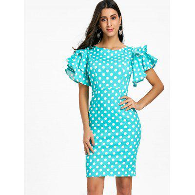Bell Sleeve Polka Dot Bodycon DressBodycon Dresses<br>Bell Sleeve Polka Dot Bodycon Dress<br><br>Dresses Length: Knee-Length<br>Material: Polyester, Spandex<br>Neckline: Round Collar<br>Package Contents: 1 x Dress<br>Pattern Type: Polka Dot<br>Season: Spring, Fall<br>Silhouette: Bodycon<br>Sleeve Length: Short Sleeves<br>Style: Brief<br>Weight: 0.3200kg<br>With Belt: No