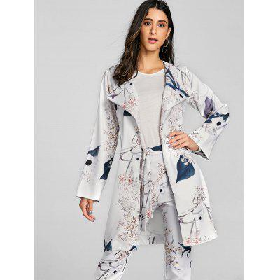 Floral Print Open Front CoatJackets &amp; Coats<br>Floral Print Open Front Coat<br><br>Clothes Type: Padded<br>Collar: Collarless<br>Material: Polyester<br>Package Contents: 1 x Coat<br>Pattern Type: Floral<br>Season: Fall, Spring<br>Shirt Length: Long<br>Sleeve Length: Full<br>Style: Fashion<br>Type: Wide-waisted<br>Weight: 0.3500kg