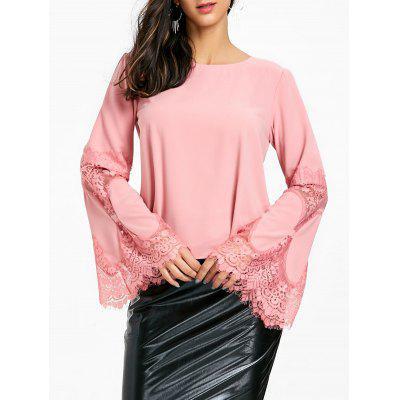 Lace Insert Flare Sleeve Blouse