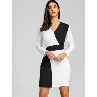 V Neck Color Block Mini Shift DressBodycon Dresses<br>V Neck Color Block Mini Shift Dress<br><br>Dresses Length: Mini<br>Material: Polyester<br>Neckline: V-Neck<br>Package Contents: 1 x Dress<br>Pattern Type: Patchwork<br>Season: Fall, Spring<br>Silhouette: Straight<br>Sleeve Length: Long Sleeves<br>Style: Brief<br>Weight: 0.4000kg<br>With Belt: No
