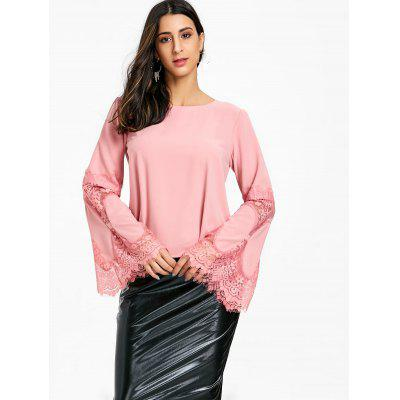 Lace Insert Flare Sleeve BlouseBlouses<br>Lace Insert Flare Sleeve Blouse<br><br>Collar: Round Neck<br>Material: Polyester<br>Package Contents: 1 x Blouse<br>Pattern Type: Solid, Patchwork<br>Season: Fall, Spring<br>Shirt Length: Regular<br>Sleeve Length: Full<br>Style: Basic<br>Weight: 0.3200kg