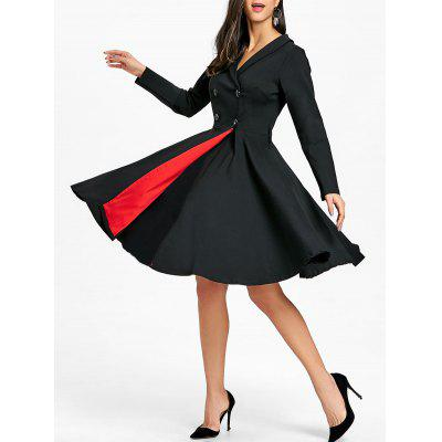 Vintage Shawl Collar Buttoned Pin Up Dress