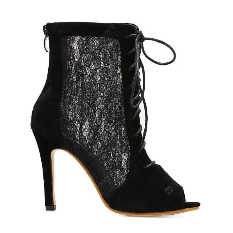 Lace Panel High Heel Sandal Boots