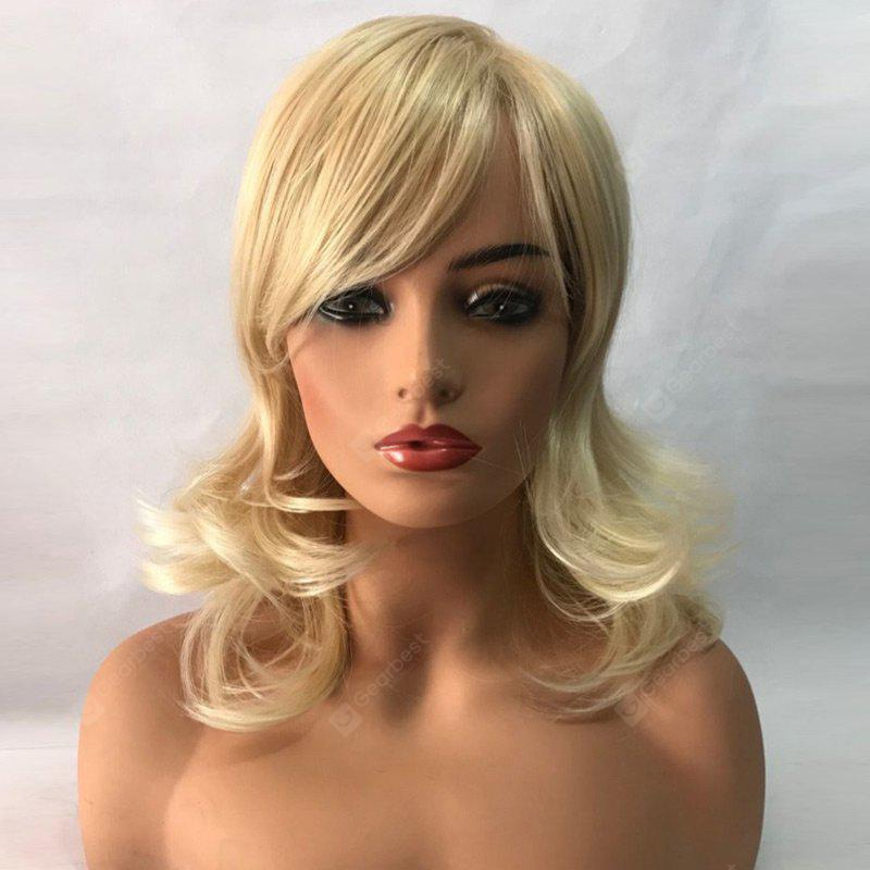 Medium Side Bang Slightly Curled Synthetic Wig