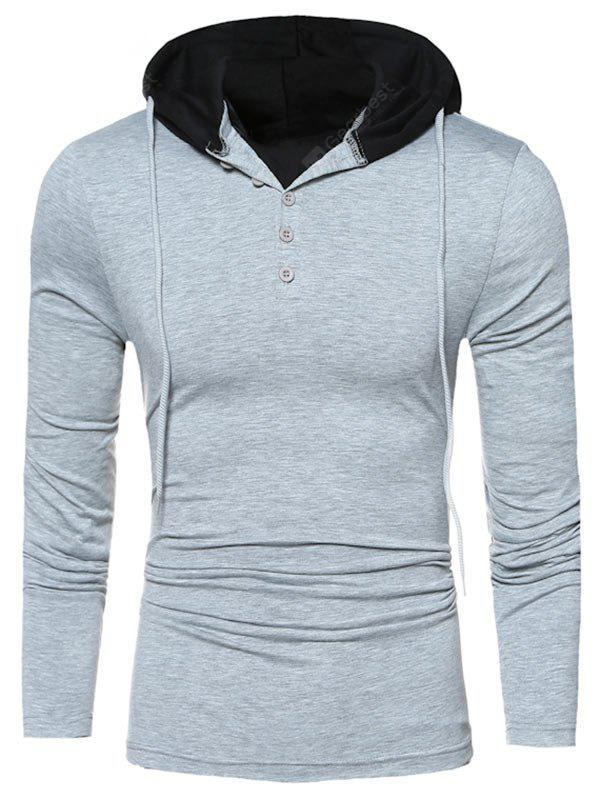 Long Sleeve Two Tone Buttoned Hooded Tee
