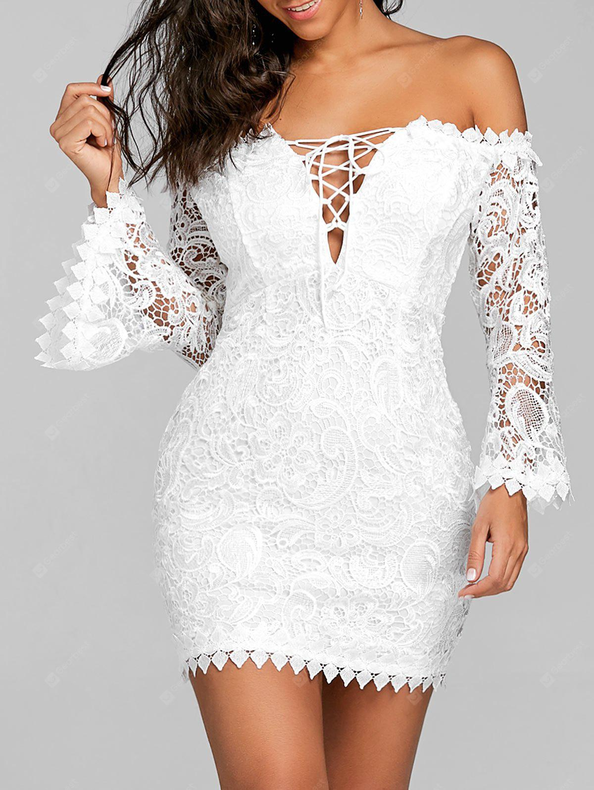 Off The Shoulder Lace Flare Sleeve Dress