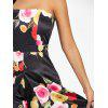 Strapless High Slit Floral Print Maxi Dress - BLACK