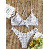 Back Lace Up Checked Thong Bikini - GREY AND WHITE