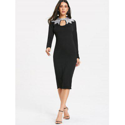 Long Sleeve Sequins Keyhole Pencil DressWomens Dresses<br>Long Sleeve Sequins Keyhole Pencil Dress<br><br>Dresses Length: Knee-Length<br>Elasticity: Elastic<br>Embellishment: Sequins<br>Material: Polyester, Spandex<br>Neckline: Keyhole Neck<br>Occasion: Wedding, Going Out, Office, Club, Semi Formal<br>Package Contents: 1 x Dress<br>Pattern Type: Solid Color<br>Season: Fall, Spring, Winter<br>Silhouette: Bodycon<br>Sleeve Length: Long Sleeves<br>Style: Brief<br>Waist: Natural<br>Weight: 0.3400kg<br>With Belt: No