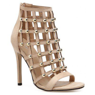 Rivets Hollow Out Stiletto Heel Sandals