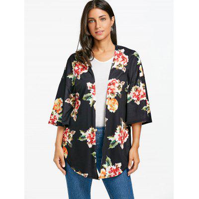 Drop Shoulder Floral Print Side Slit CardiganSweaters &amp; Cardigans<br>Drop Shoulder Floral Print Side Slit Cardigan<br><br>Collar: Collarless<br>Material: Polyester<br>Package Contents: 1 x Cardigan<br>Pattern Type: Print, Floral<br>Season: Fall, Spring, Summer<br>Sleeve Length: Three Quarter<br>Style: Casual<br>Type: Cardigans<br>Weight: 0.3100kg