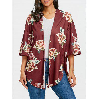 Drop Shoulder Floral Print Side Slit Cardigan