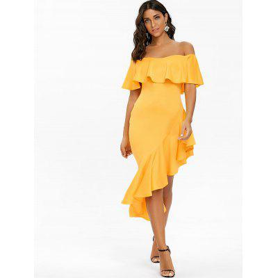 Off The Shoulder Asymmetric Flounce DressWomens Dresses<br>Off The Shoulder Asymmetric Flounce Dress<br><br>Dresses Length: Mid-Calf<br>Embellishment: Flounce<br>Material: Polyester, Spandex<br>Neckline: Off The Shoulder<br>Occasion: Prom, Party, Evening<br>Package Contents: 1 x Dress<br>Pattern Type: Solid Color<br>Season: Fall, Spring<br>Silhouette: Bodycon<br>Sleeve Length: Short Sleeves<br>Style: Brief<br>Weight: 0.5200kg<br>With Belt: No