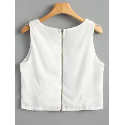 Back Zip Crochet Lace Panel Tank TopTank Tops<br>Back Zip Crochet Lace Panel Tank Top<br><br>Collar: V-Neck<br>Material: Cotton, Polyester<br>Package Contents: 1 x Tank Top<br>Pattern Type: Solid<br>Shirt Length: Short<br>Style: Fashion<br>Thickness: Standard<br>Weight: 0.1750kg