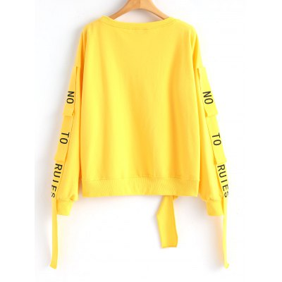 Ribbons Letter Cutout SweatshirtSweatshirts &amp; Hoodies<br>Ribbons Letter Cutout Sweatshirt<br><br>Clothing Style: Sweatshirt<br>Material: Cotton, Polyester<br>Package Contents: 1 x Sweatshirt<br>Pattern Style: Solid<br>Shirt Length: Regular<br>Sleeve Length: Full<br>Weight: 0.4200kg