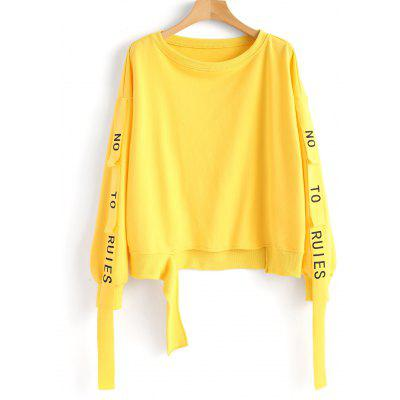 Ribbons Letter Cutout Sweatshirt