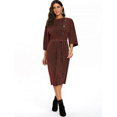 Button Embellished Striped Drop Shoulder DressWomens Dresses<br>Button Embellished Striped Drop Shoulder Dress<br><br>Dresses Length: Knee-Length<br>Material: Polyester<br>Neckline: Round Collar<br>Occasion: Casual<br>Package Contents: 1 x Dress  1 x Belt<br>Pattern Type: Stripe<br>Season: Fall, Spring<br>Silhouette: Sheath<br>Sleeve Length: 3/4 Length Sleeves<br>Style: Casual<br>Weight: 0.3000kg<br>With Belt: Yes