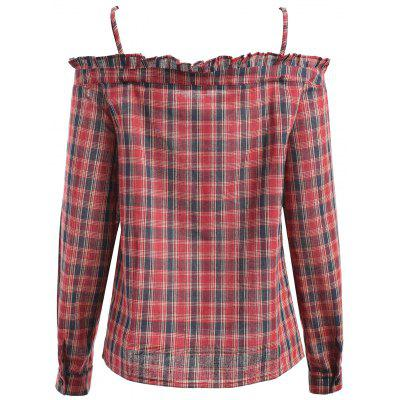 Spaghetti Strap Ruffle Trim Plaid ShirtBlouses<br>Spaghetti Strap Ruffle Trim Plaid Shirt<br><br>Collar: Spaghetti Strap<br>Material: Cotton, Polyester<br>Package Contents: 1 x Shirt<br>Pattern Type: Plaid<br>Season: Fall, Spring, Winter<br>Shirt Length: Regular<br>Sleeve Length: Full<br>Style: Fashion<br>Weight: 0.3500kg