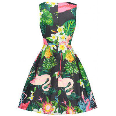 Floral and Flamingo Print Vintage DressWomens Dresses<br>Floral and Flamingo Print Vintage Dress<br><br>Dresses Length: Mid-Calf<br>Material: Polyester<br>Neckline: Round Collar<br>Package Contents: 1 x Dress<br>Pattern Type: Floral, Animal<br>Season: Fall, Spring, Summer<br>Silhouette: A-Line<br>Sleeve Length: Sleeveless<br>Style: Vintage<br>Weight: 0.2200kg<br>With Belt: No