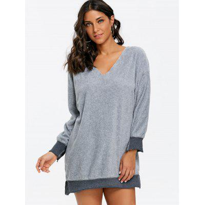 Fleece V Neck Pullover Tunic SweatshirtSweatshirts &amp; Hoodies<br>Fleece V Neck Pullover Tunic Sweatshirt<br><br>Material: Cotton, Polyester<br>Package Contents: 1 x Sweatshirt<br>Pattern Style: Others<br>Season: Fall, Spring, Winter<br>Shirt Length: Regular<br>Sleeve Length: Full<br>Style: Casual<br>Weight: 0.3000kg