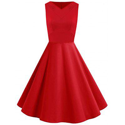 Vintage V Neck Ruched Flare Dress