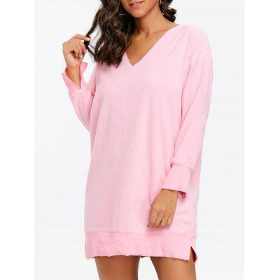 Fleece V Neck Pullover Tunic Sweatshirt