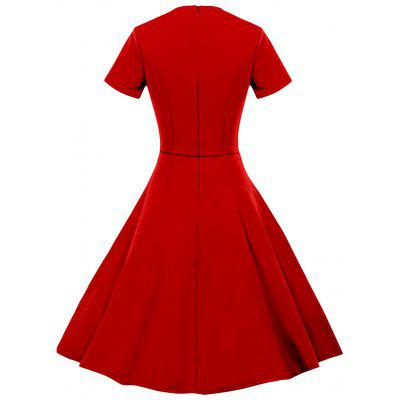 Vintage V Neck Ruched Fit and Flare DressWomens Dresses<br>Vintage V Neck Ruched Fit and Flare Dress<br><br>Dresses Length: Mini<br>Material: Polyester, Spandex<br>Neckline: V-Neck<br>Package Contents: 1 x Dress<br>Pattern Type: Solid<br>Season: Spring, Fall<br>Silhouette: A-Line<br>Sleeve Length: Short Sleeves<br>Style: Vintage<br>Weight: 0.3700kg<br>With Belt: No