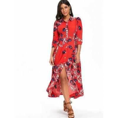 Button Up Floral Print Maxi Shirt DressWomens Dresses<br>Button Up Floral Print Maxi Shirt Dress<br><br>Dresses Length: Ankle-Length<br>Material: Polyester<br>Neckline: Shirt Collar<br>Package Contents: 1 x Dress<br>Pattern Type: Floral<br>Season: Fall, Spring<br>Silhouette: A-Line<br>Sleeve Length: 3/4 Length Sleeves<br>Style: Casual<br>Weight: 0.3700kg<br>With Belt: No