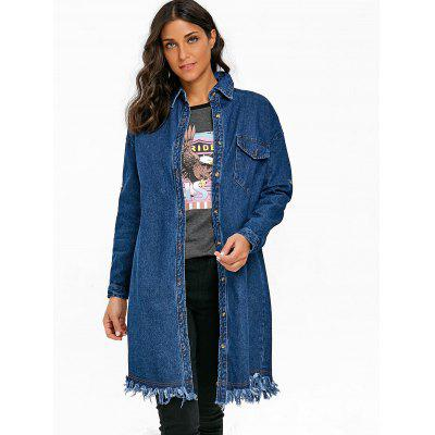 Long Denim Frayed ShirtBlouses<br>Long Denim Frayed Shirt<br><br>Collar: Shirt Collar<br>Material: Polyester<br>Package Contents: 1 x Shirt<br>Pattern Type: Solid<br>Season: Fall, Spring<br>Shirt Length: Long<br>Sleeve Length: Full<br>Style: Fashion<br>Weight: 0.8600kg