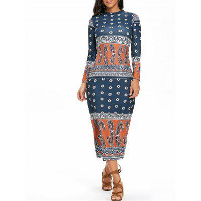 Ethnic Paisley Print Mock Neck Maxi Dress