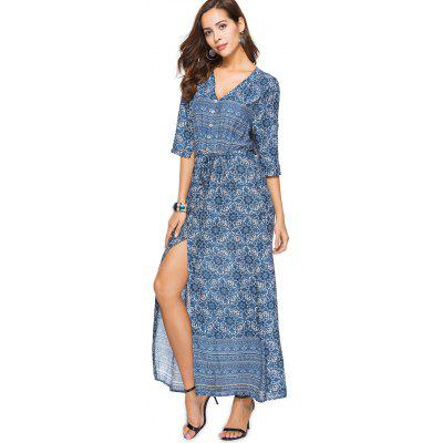 Printed Slit Button Up Maxi DressWomens Dresses<br>Printed Slit Button Up Maxi Dress<br><br>Dresses Length: Ankle-Length<br>Material: Cotton, Polyester<br>Neckline: V-Neck<br>Occasion: Casual, Day, Going Out<br>Package Contents: 1 x Dress<br>Pattern Type: Print<br>Season: Summer<br>Silhouette: A-Line<br>Sleeve Length: 3/4 Length Sleeves<br>Style: Brief<br>Weight: 0.3050kg<br>With Belt: No