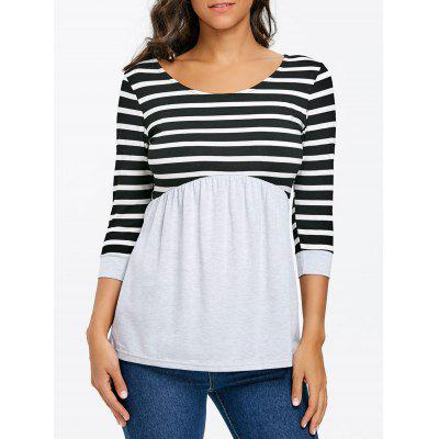 Stripe Panel Top with Elastic Waist