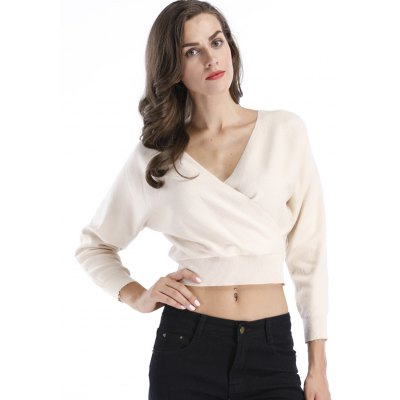 Surplice Crop SweaterSweaters &amp; Cardigans<br>Surplice Crop Sweater<br><br>Collar: V-Neck<br>Material: Polyester, Spandex<br>Package Contents: 1 x Sweater<br>Sleeve Length: Full<br>Style: Fashion<br>Type: Pullovers<br>Weight: 0.3250kg