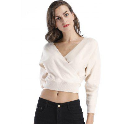 Surplice Crop Sweater