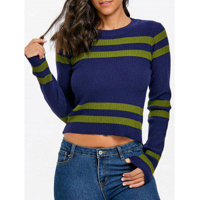 Stripe Ribbed Crew Neck Sweater