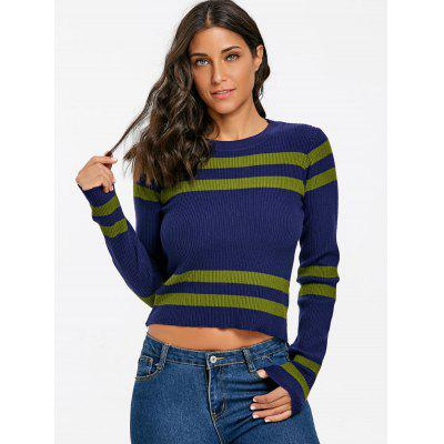 Stripe Ribbed Crew Neck SweaterSweaters &amp; Cardigans<br>Stripe Ribbed Crew Neck Sweater<br><br>Collar: Crew Neck<br>Elasticity: Elastic<br>Material: Acrylic<br>Package Contents: 1 x Sweater<br>Pattern Type: Striped<br>Season: Winter, Spring, Fall<br>Sleeve Length: Full<br>Style: Fashion<br>Type: Pullovers<br>Weight: 0.3900kg