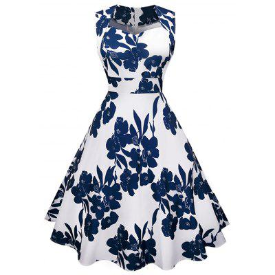 Sweetheart Neckline Floral Print Sleeveless Flared Dress
