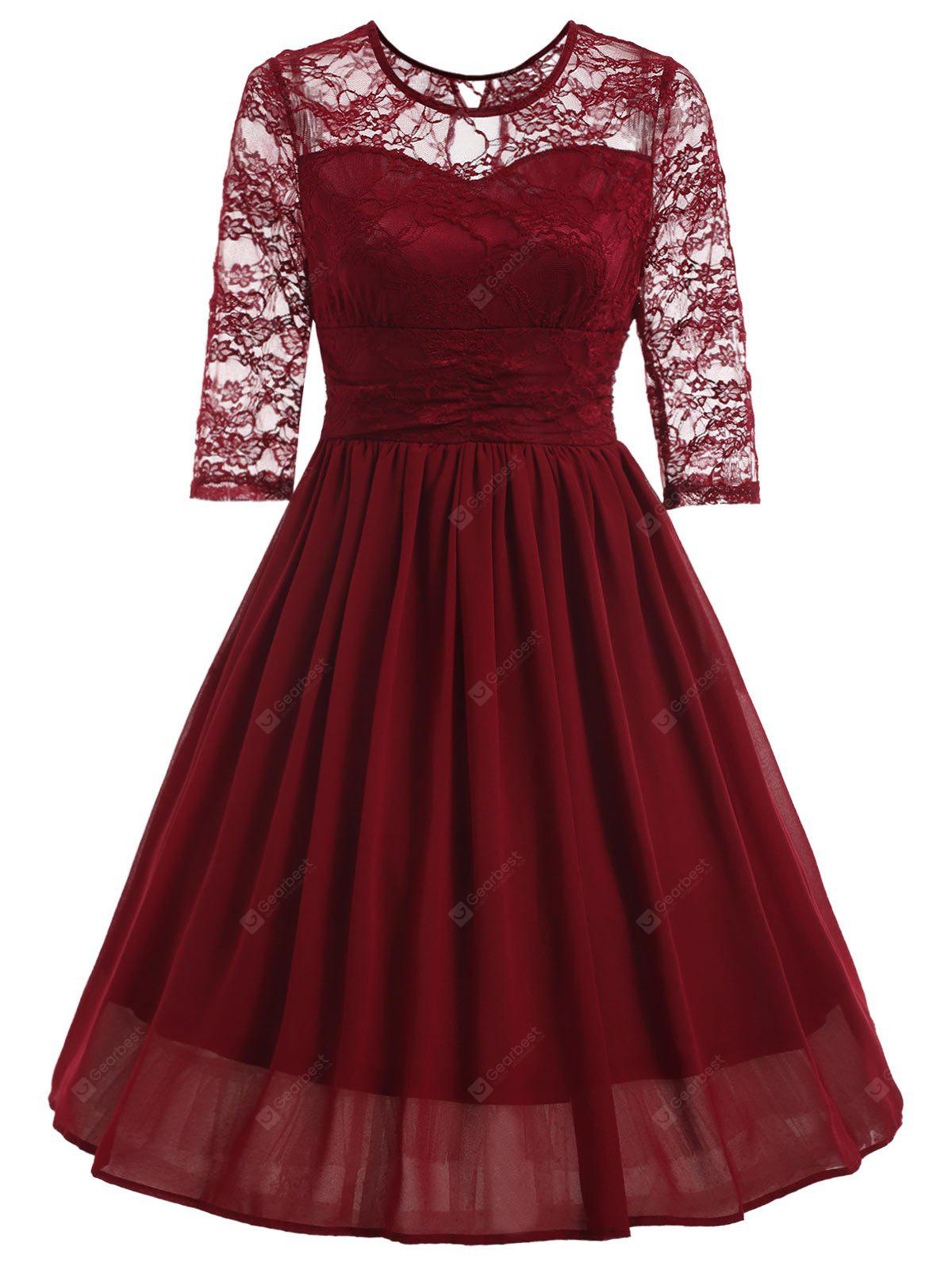 Vintage Lace Panel Fit and Flare Swing Dress