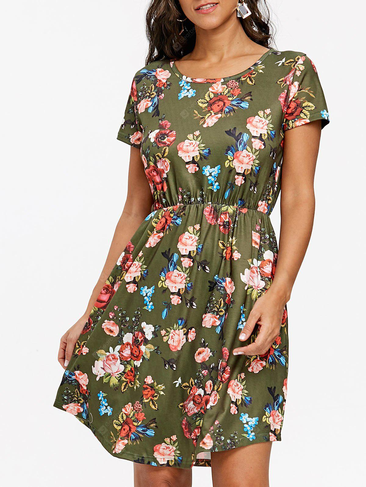 Floral Print Knee Length Tunic Dress