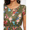 Floral Print Knee Length Tunic Dress - GREEN
