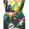 Floral and Flamingo Print Vintage Dress - FLORAL
