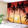 Tropical Seaside Coconut Trees Print Wall Hanging Tapestry - COLORMIX